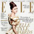 Aishwarya Rai en couverture du ELLE indien, décembre 2010.