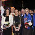 Le prince Albert et la princesse Charlene de Monaco, d'humeur joviale, se sont joints mardi 24 janvier 2012 à la princesse Stéphanie et sa fille Pauline Ducruet pour la 6e soirée du 36e Festival International du Cirque de Monte-Carlo, au cours de laquelle les récompenses ont été distribuées.