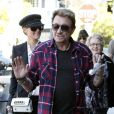 Johnny Hallyday, Laeticia et Mamie Rock, Février 2012 à Los Angeles