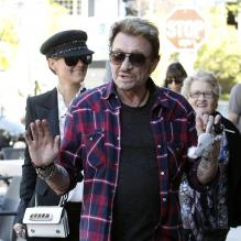 Johnny Hallyday, Laeticia et Mamie Rock, Février 2012 à Los Angeles<br />