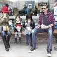 Johnny Hallyday, Laeticia et leurs fillettes, Février 2012 à Los Angeles