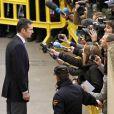 Iñaki Urdangarin, époux de l'infante Cristina d'Espagne et gendre du roi Juan Carlos Ier, a été accueilli par des huées et des messages virulents lors de sa venue au tribunal de Palma de Majorque pour déposer devant le juge Castro, samedi 25 février 2012. Après avoir été entendu pendant neuf heures, il y revenait le dimanche 26.