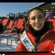 Delphine Wespiser lors de leurs vacances au ski à Mégève en mars 2012