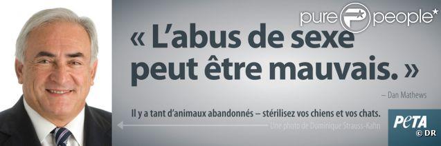 """Projet de campagne de """"désexage"""" des animaux de compagnie mettant en scène Dominique Strauss-Kahn par la PeTA, mars 2012."""