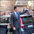Le prince Felipe et sa fille Sofia arrivent pour la messe pascale. La famille royale d'Espagne assistait le 8 avril 2012 en la cathédrale Santa Maria de Majorque (''La Seu'') à la messe de Pâques conduite par Jesus Murgui.