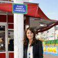 Daniela Lumbroso, marraine de la Foire du Trône, inaugure la place Daniela Lumbroso, le 13 avril 2012 à Paris