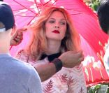 Drew Barrymore, enceinte, en plein shooting photo à San Marino, en Californie, le 30 avril 2012