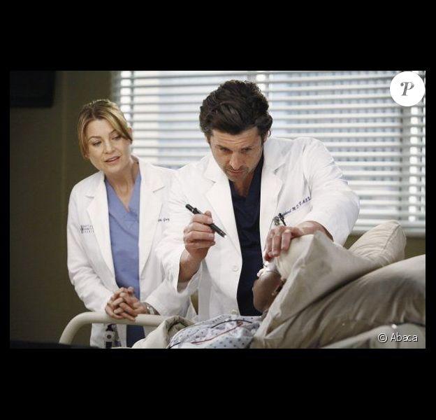 Patrick Dempsey et Ellen Pompeo dans la saison 8 de Grey's Anatomy, 2011/2012.