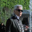 Karl Lagerfeld lors du défilé Chanel Croisière 2012-2013 au château de Versailles. Le 14 mai 2012.
