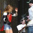 Kylie Minogue à Londres sur le tournage d'un clip mystère, le 20 avril 2012.