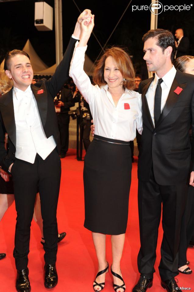 Nathalie Baye et Melvil Poupaud au Festival de Cannes 2012, vendredi 18 mai, pour la présentation de  Laurence Anyways  de Xavier Dolan.