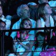 Laeticia et ses filles Jade et Joy assistent au concert de Johnny à l'Arena de Montpellier le 14 et 15 mai 2012.