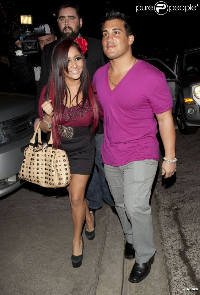 Snooki et son petit ami Jionni LaValle à West Hollywood le 7 janvier 2012.