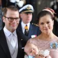 Baptême de la princesse Estelle de Suède, premier enfant de la princesse Victoria et du prince Daniel, au palais Drottningholm, à Stockholm, le 22 mai 2012.