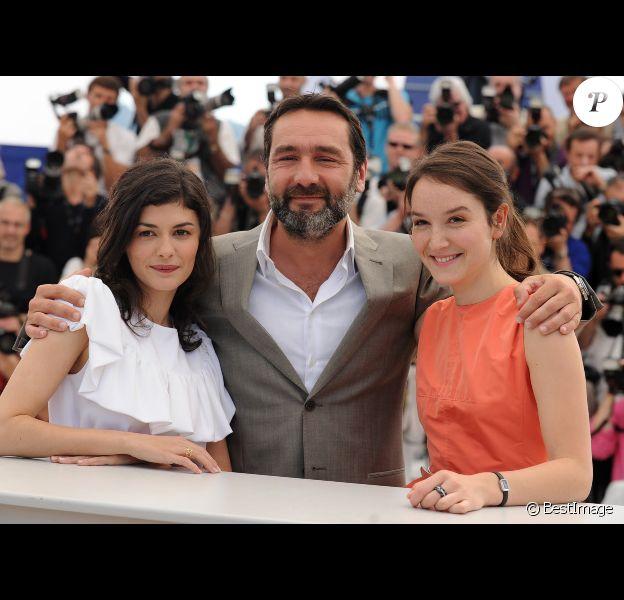 Audrey Tautou, Gilles Lellouche et Anaïs Demoustier lors du photocall du film Thérèse Desqueyroux au Festival de Cannes le 27 mai 2012