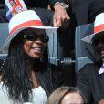 Laura Flessel lors du match entre Jo-Wilfried Tsonga et Novak Djokovic le 5 juin 2012 à Roland-Garros