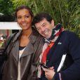 Karine Le Marchand et Stéphane Plaza lors du match entre Jo-Wilfried Tsonga et Novak Djokovic le 5 juin 2012 à Roland-Garros