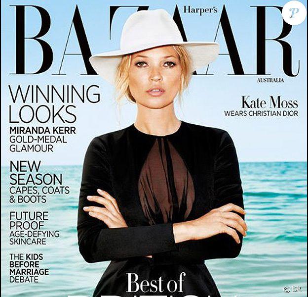 Kate Moss en couverture de Harper's Bazaar Australie pour le mois d'août 2012