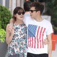 Les amoureux Keira Knightley et son fiancé James Righton, membre des Klaxons, à New York le 1er juillet 2012