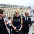 La princesse Charlene de Monaco était présente place Vendôme à Paris mardi 3 juillet 2012 pour l'inauguration de la boutique Louis Vuitton Joaillerie au 23, en présence du directeur artistique Lorenz Bäumer.