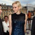 Au lendemain du défilé Dior, auquel elle a assisté au côté de Bernard Arnault, la princesse Charlene de Monaco était présente place Vendôme à Paris mardi 3 juillet 2012 pour l'inauguration de la boutique Louis Vuitton Joaillerie au 23, en présence du directeur artistique Lorenz Bäumer.