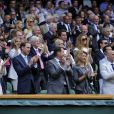 Le duc et la duchesse de Cambridge ont vu Roger Federer se qualifier pour les demi-finales de Wimbledon, sur le court central, le 4 juillet 2012.