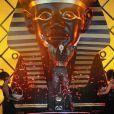 Rihanna et son sphinx sur scène au Wireless Festival, à Londres, le 8 juillet 2012.