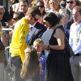 Bradley Wiggins, sa femme Cathy et leurs enfants Ben et Isabella le 22 juillet 2012 sur les Champs Elysée lors de la dernière étape du Tour de France 2012