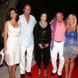 Serge de Yougoslavie, ses parents et Eleonora à la soirée d'anniversaire de Monika Bacardi, au Moulin de Ramatuelle, le 23 juillet 2012.