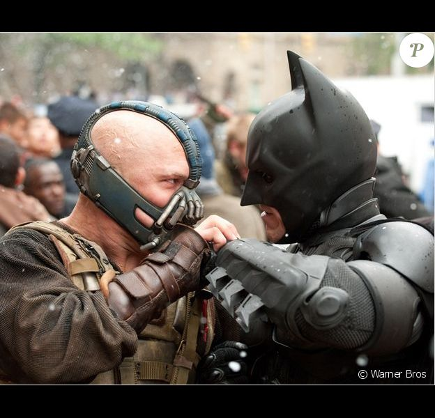 Christian Bale et Tom Hardy dans The Dark Knight Rises.