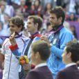 Andy Murray est devenu champion olympique en battant Roger Federer en finale le 5 août 2012 à Wimbledon à Londres, Juan Martin Del Potro terminant à la troisième place