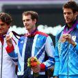 Andy Murray, Roger Federer et Juan Martin Del Potro durant la cérémonie protocolaire aux Jeux olympiques de Londres le 5 août 2012