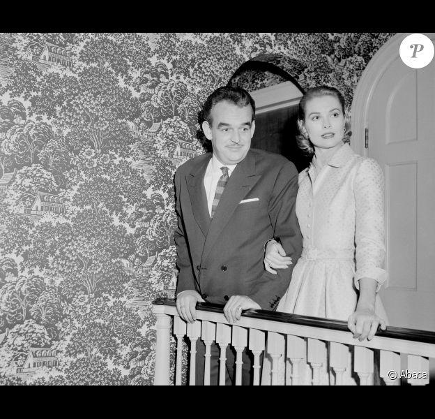 Rainier III et Grace de Monaco en janvier 1956