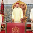 Le roi Mohammed VI du Maroc avec le prince Moulay Hassan et le prince Moulay Rachid pour la Fête du Trône le 30 juillet 2012.