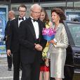 Le roi Carl XVI Gustaf de Suède et la reine Silvia arrivant à la cérémonie du Polar Music Prize 2012, le 28 août 2012, à Stockholm.