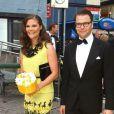 Victoria de Suède et son mari Daniel arrivant à la cérémonie du Polar Music Prize 2012, le 28 août 2012, à Stockholm.