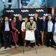 Sylvain Dieuaide, Mathieu Amalric, Anne Consigny, Anny Duperey, Hippolyte Girardot, Alain Resnais, Lambert Wilson et Michel Robin lors de la présentation de  Vous n'avez encore rien vu  à la Cinematheque Francaise de Paris, le 17 septembre 2012.