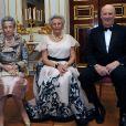 La princesse Ragnhild (à gauche) lors des 80 ans de la princesse Astrid (au centre), avec le roi Harald.