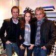 Christian Vadim, Vanessa Demouy et David Brécourt lors de l'inauguration de la boutique Montagut rue du Faubourg Saint-Honoré ainsi que le lancement du site de vente en ligne de la marque, à Paris le 11 Octobre 2012.