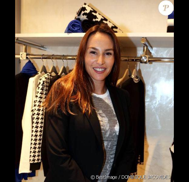 Vanessa Demouy lors de l'inauguration de la boutique Montagut rue du Faubourg Saint-Honoré ainsi que le lancement du site de vente en ligne de la marque, à Paris le 11 Octobre 2012.