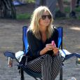 Heidi Klum, supportrice stylée pour son fils Henry.   Brentwood, le 13 octobre 2012.