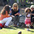 Heidi Klum, ses enfants, et ses parents vont voir Henry jouer au football. Brentwood, le 13 octobre 2012.