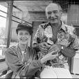 Sylvia Kristel et Eddy Barclay à Majorque, en 1978.