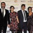 Eric Cantona et sa femme Rachida Brakni, Joël Cantona et sa compagne lors de la céremonie du Golden Foot Award à Monaco le 17 Avril 2012 au Sporting de Monte-Carlo