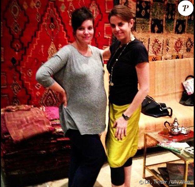 Lily Allen, enceinte de sept mois, à Marrakech (Maroc).