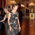 La princesse Mathilde de Belgique le 24 octobre 2012 au palais à Bruxelles pour un concert d'automne offert par le couple royal.