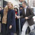 Cristina et Inaki Urdangarin le 25 novembre 2012 à l'hôpital Quiron San José de Madrid pour voir le roi Juan Carlos Ier après son arthroplastie à la hanche gauche.