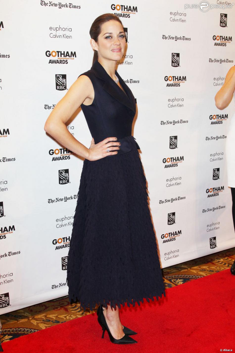 Marion Cotillard était habillée en Dior pour la soirée de remise de prix des Gotham Independent Film Awards à New York le 26 novembre 2012.