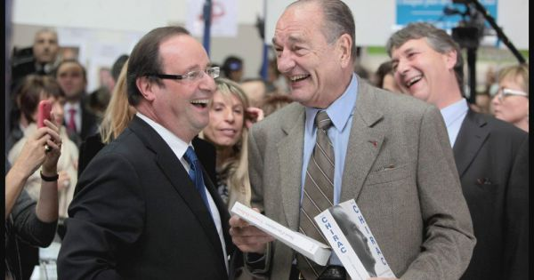 Jacques chirac et fran ois hollande au salon du livre de for Salon du livre brive