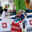 Lindsey Vonn lors de sa victoire en descente à Lake Louise au Canada le 30 novembre 2012